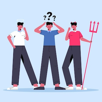 선과 악의 평면 디자인 윤리적 딜레마