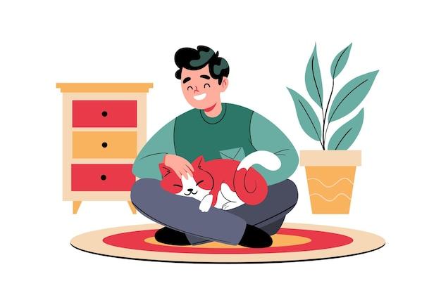 Плоские повседневные сцены с концепцией домашних животных с кошкой