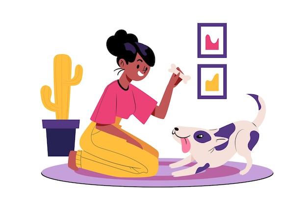 강아지와 애완 동물 개념 평면 디자인 일상 장면