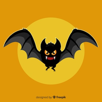 Flat design of evil halloween bat