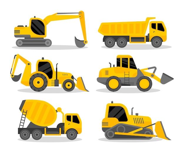 Collezione di escavatori design piatto