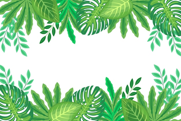 Flat design exotic green leaves background