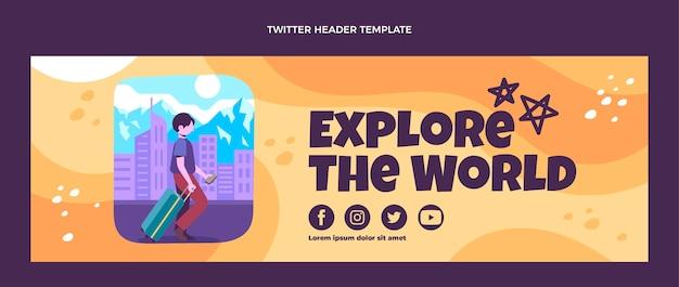 Il design piatto esplora l'intestazione di twitter del mondo