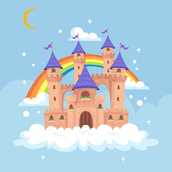 Flat design fairytale castle
