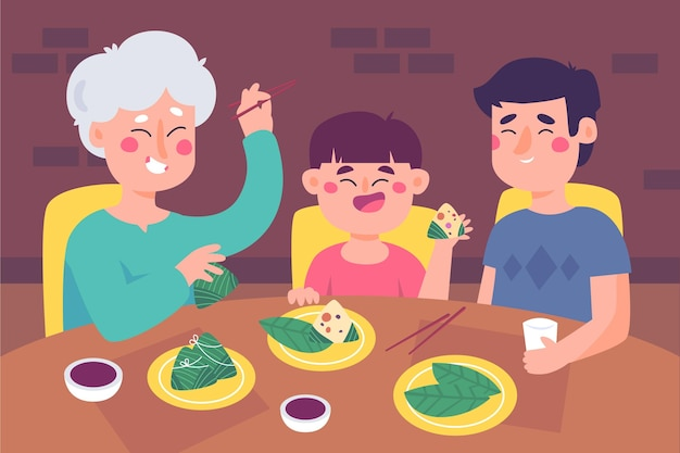 Flat design family eating zongzi