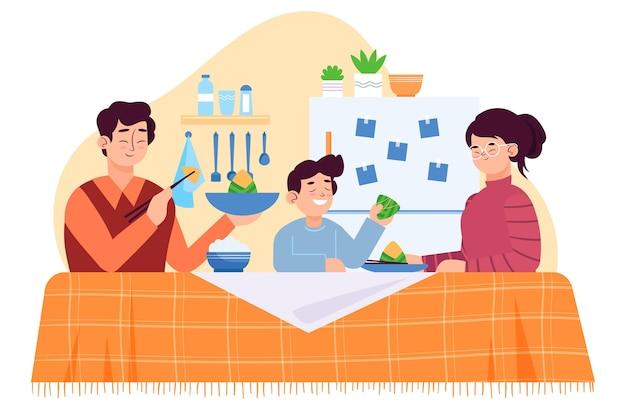 Zongzi를 먹는 평면 디자인 가족