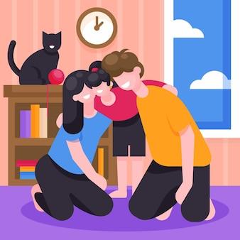 Flat design family scene illustrated
