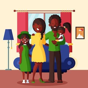フラットなデザインの家族のシーン