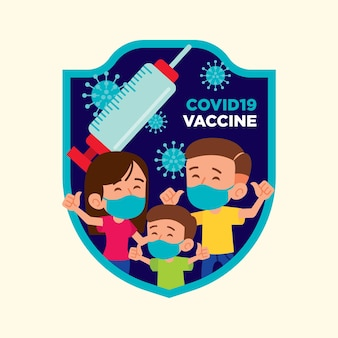 Flat design of family wearing face mask to get coronavirus vaccine to protect from virus