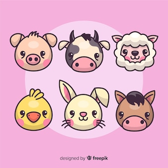 Flat design farm animal collection