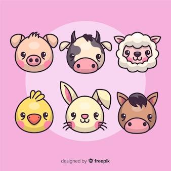 평면 디자인 농장 동물 모음
