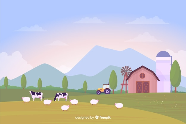Flat design farm landscape background