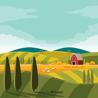 Flat design farm landscape background