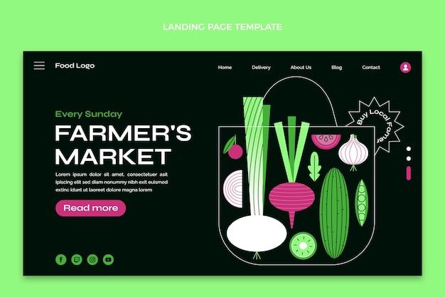 フラットデザインのファーマーズマーケットのランディングページ