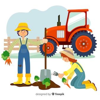 Flat design farmers characters harvesting