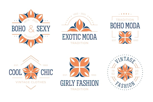Flat design fashion accessories logo collection