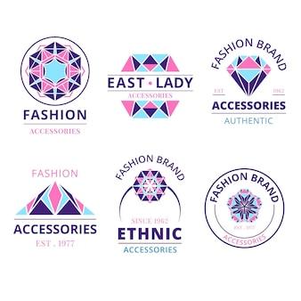Коллекция логотипов модных аксессуаров в плоском дизайне