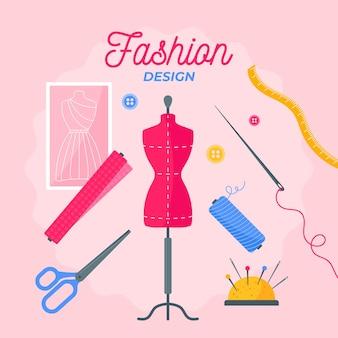 フラットなデザインのファッションデザイナーのコンセプト