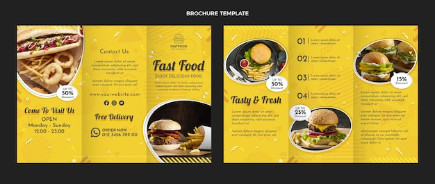 Modello di brochure per fast food design piatto