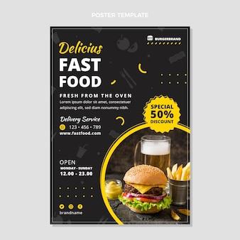 Modello di poster di fast food design piatto