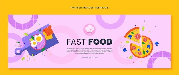 Плоский дизайн фаст-фуд заголовок twitter