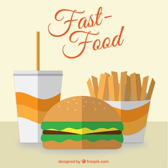 Flat  design fast food