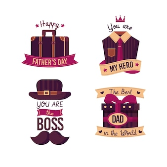 Flat design father's day badges