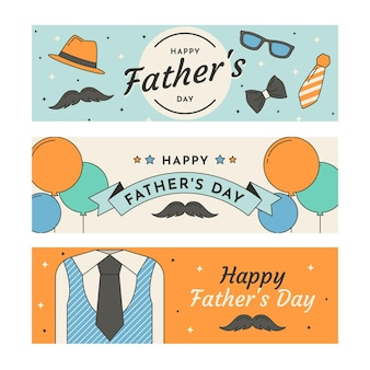 Flat design father's day banners pack