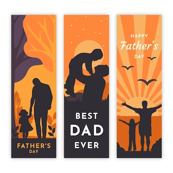 Flat design father's day banners set
