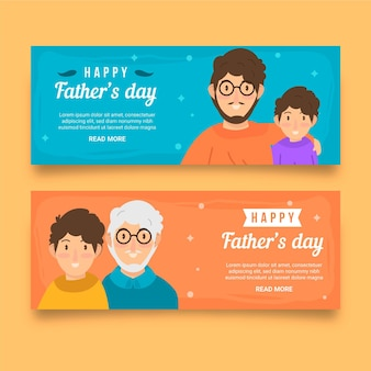 Flat design father's day banners
