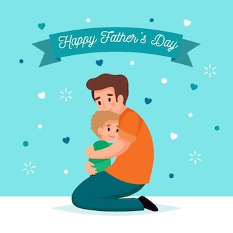 Flat design father's day and child