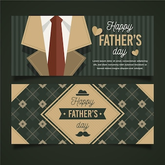 Flat design father's day horizontal banners