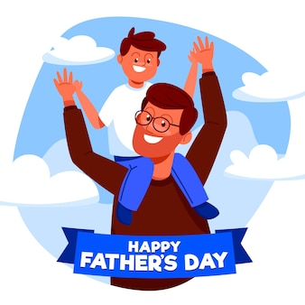 Flat design father's day illustration with child