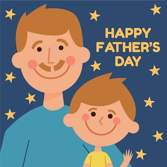 Flat design father's day illustration with son
