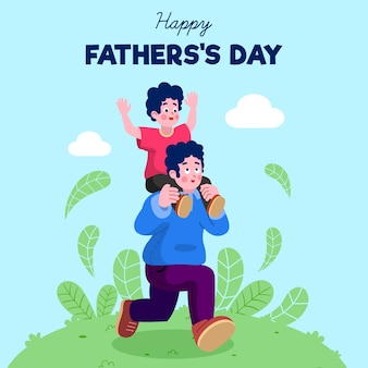 Flat design father's day illustration
