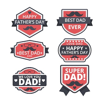 Flat design father's day labels pack