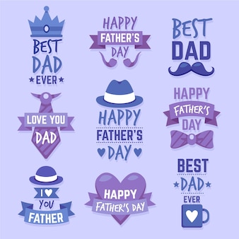 Flat design father's day labels set