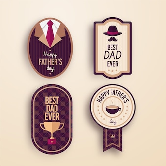 Flat design father's day labels
