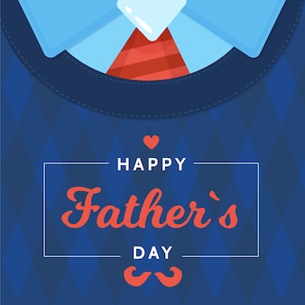 Flat design father's day shirt with tie