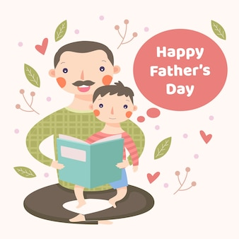 Flat design father and son reading