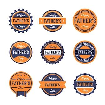 Collezione di badge giorno padri design piatto
