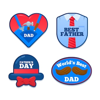 Flat design fathers day badges collection