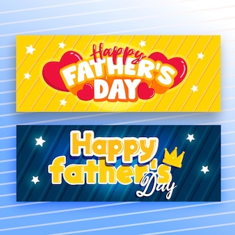 Flat design fathers day banners template