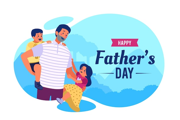 Flat design fathers day concept