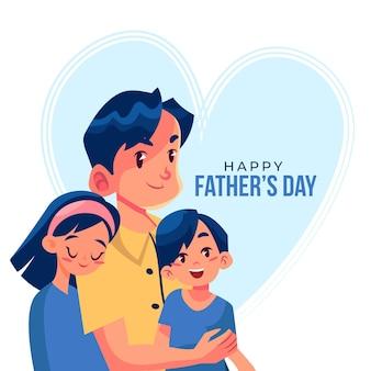 Flat design fathers day illustration