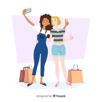 Flat design female characters taking selfie