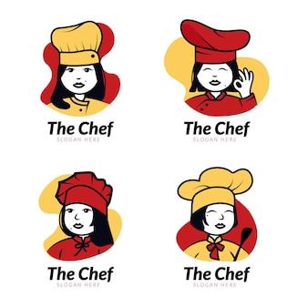 평면 디자인 여성 요리사 로고 컬렉션