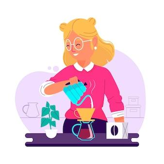 コーヒーを作るフラットなデザインの女性