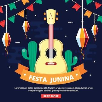 Flat design festa junina background
