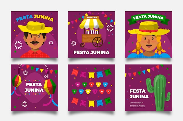 Плоский дизайн festa junina карты персонажей и кактус